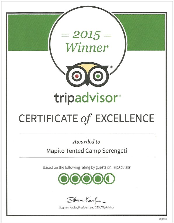 2015 Tripadvisor Certificate of Excellence for Mapito Tented Camp